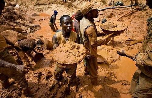 Конго - добыча вручную