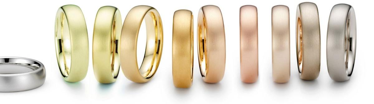 Кольца из золота различных цветов