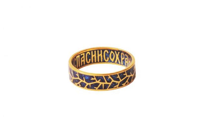 Золотое кольцо, украшенное эмалью