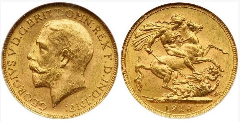 Золотая монета Англии