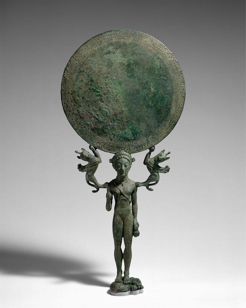 Бронзовое зеркало с подставкой в виде обнаженной девушки